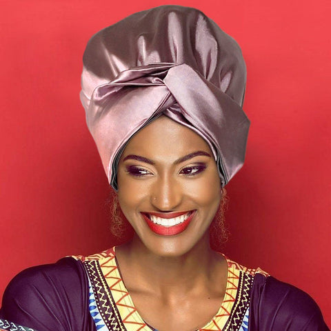 Solid Color Head Wrap With Satin-Lined(Purple)-AW1809