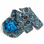 African Print Head Wrap With Satin-Lined(Bule Leaves)-AW1960