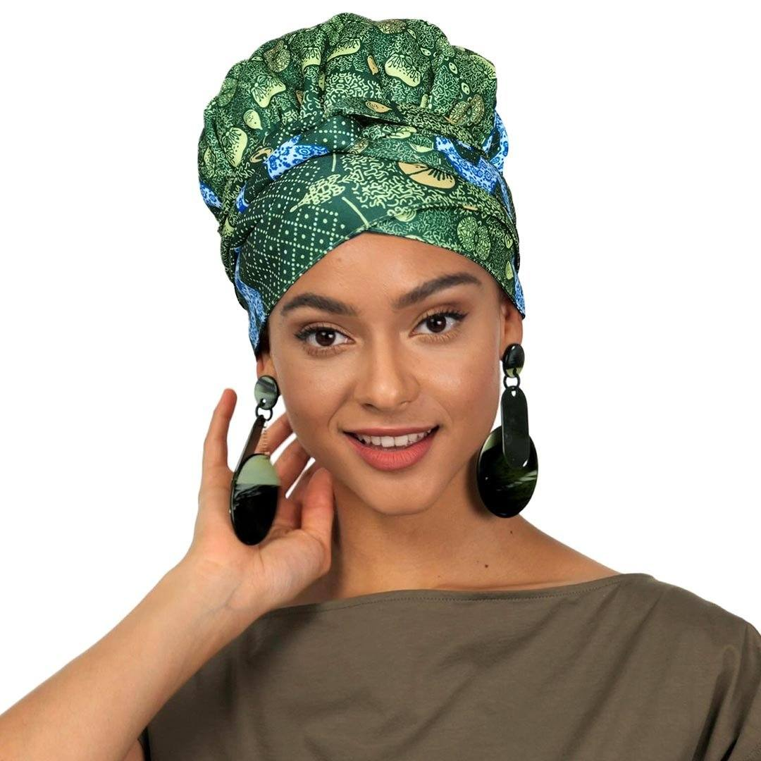 Creative Premium Print Headwrap Combined With A Nightcap(African Fruit)-AW1970
