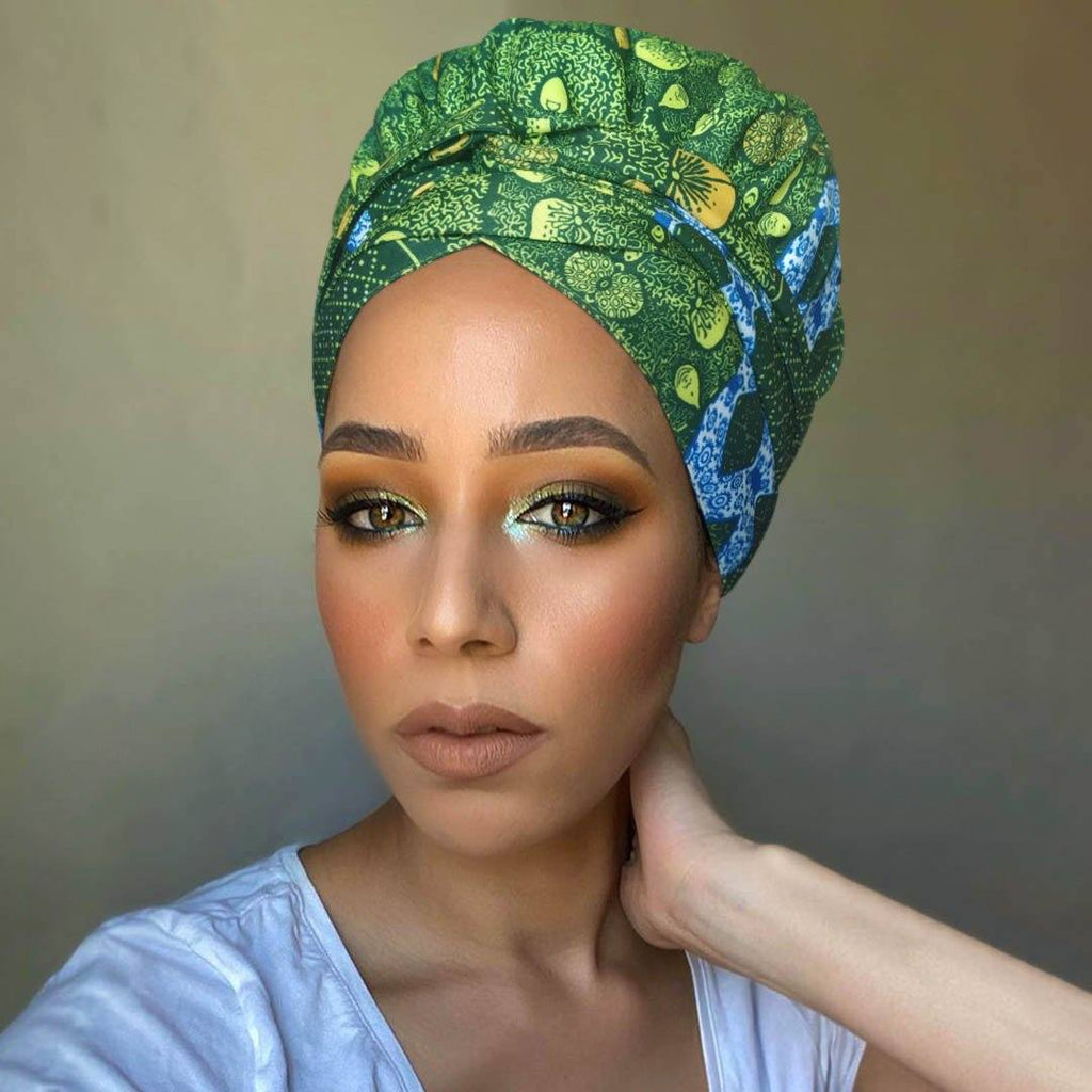 Creative Premium Print Headwrap Combined With A Nightcap(African Fruit)-XL