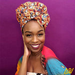 Creative Premium Print Headwrap Combined With A Nightcap(Orange Leaves)-AW1971