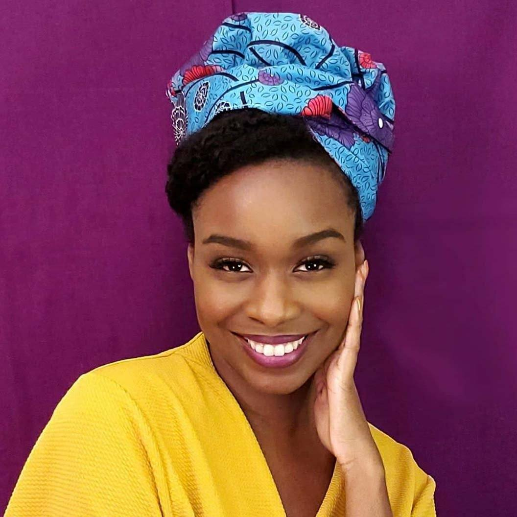 Creative Premium Print Headwrap Combined With A Nightcap(Blue Red Flower )-XL