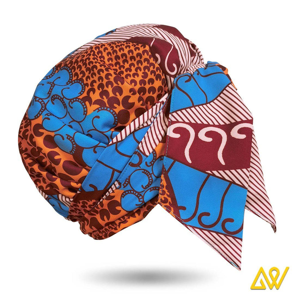 African Print Head Wrap With Satin-Lined(Romantic Autumn) -AW1982