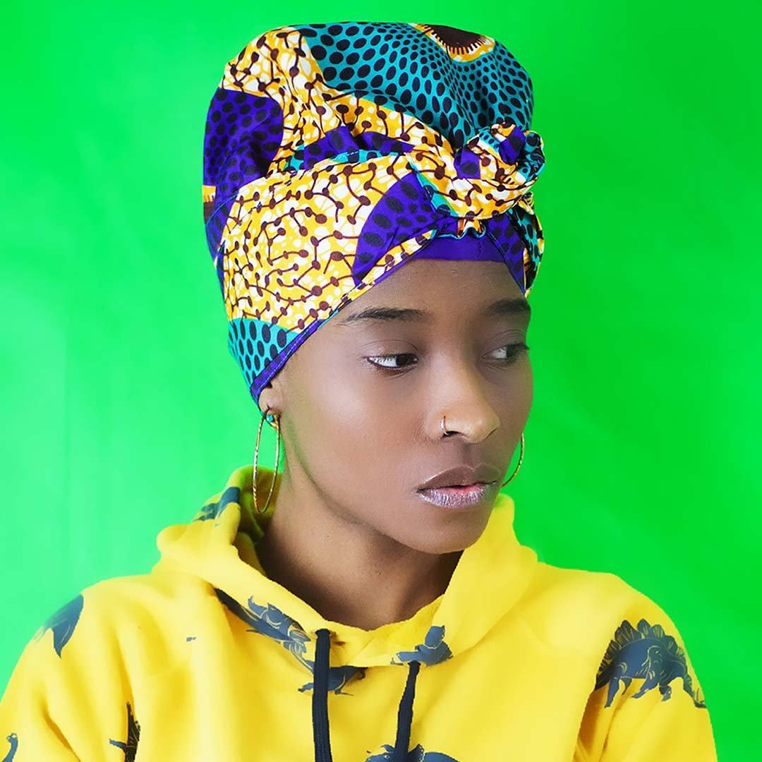 African Print Head Wrap With Satin-Lined(Enchanted Lady) -AW1984