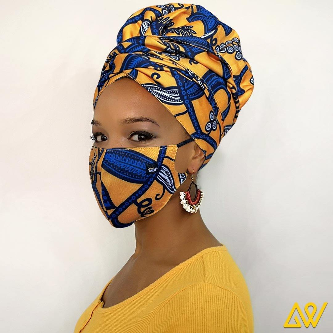 African Print Head Wrap With Satin-Lined(Queen's Crown) -AW1987