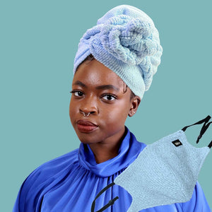 African Print Head Wrap With Satin-Lined(Green Red Multipattern)-AW1983
