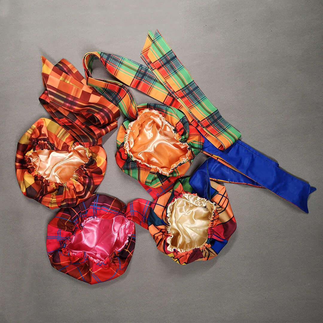 African Print Head Wrap With Satin-Lined(Buisson Ardent) -AW1992