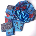 Creative Premium Print Headwrap Combined With A Nightcap(Blue Red Flower )-AW1973