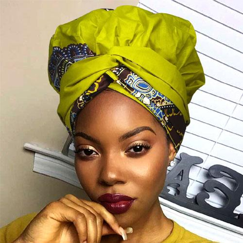 African Print Head Wrap With Satin-Lined-AW1137