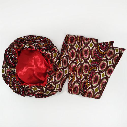 African Print Head Wrap With Satin-Lined-AW1138