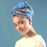 African Print Head Wrap With Satin-Lined-AW1161