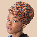 African Print Head Wrap With Satin-Lined For Girls(Orange Leaves)-AW3971