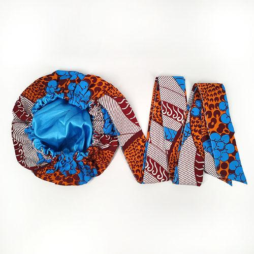 African Print Head Wrap With Satin-Lined For Girls(Romantic Autumn)-AW3982