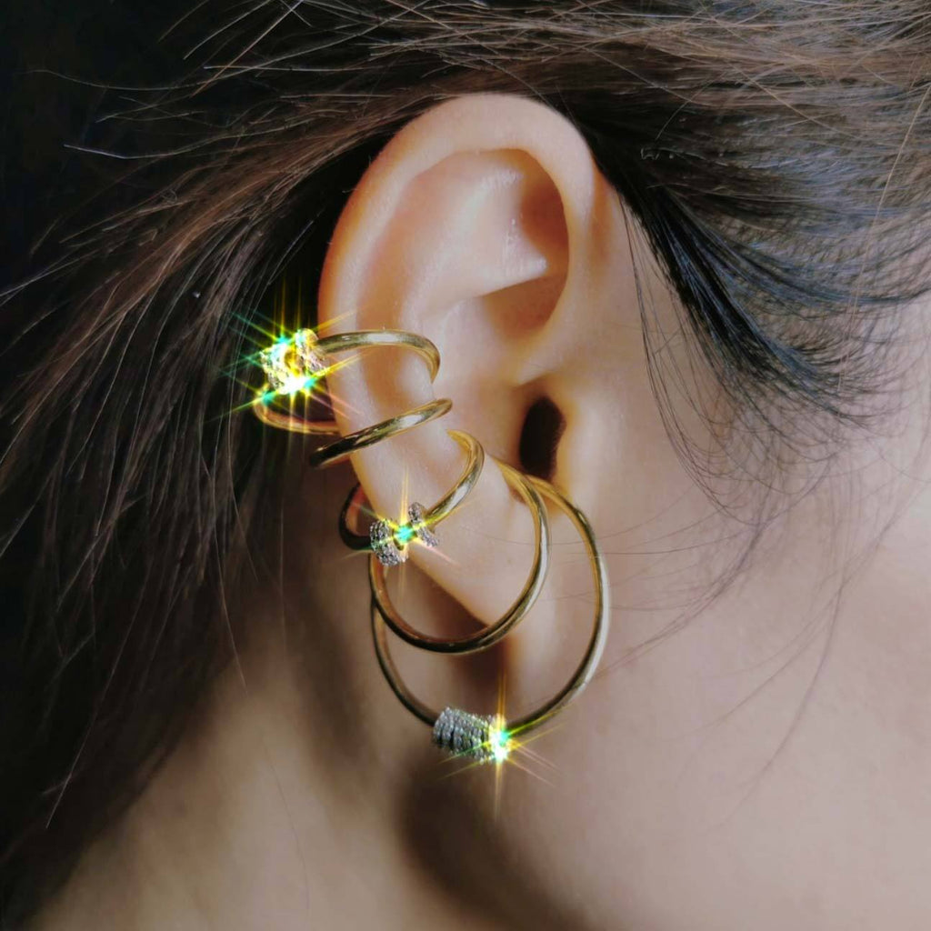 5 Rings Clip Stylish Hoop Earrings-AW7002
