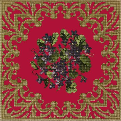 A Posy of Violets Needlepoint Kit Elizabeth Bradley Design Bright Red
