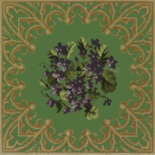 A Posy of Violets Needlepoint Kit Elizabeth Bradley Design Dark Green
