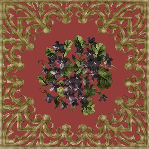 A Posy of Violets Needlepoint Kit Elizabeth Bradley Design Dark Red