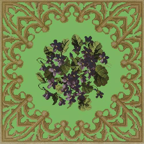 A Posy of Violets Needlepoint Kit Elizabeth Bradley Design Grass Green
