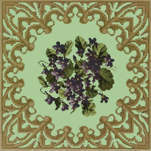 A Posy of Violets Needlepoint Kit Elizabeth Bradley Design Pale Green