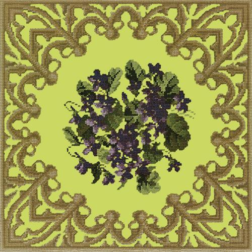 A Posy of Violets Needlepoint Kit Elizabeth Bradley Design Pale Lime
