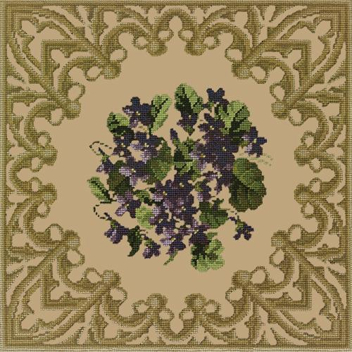 A Posy of Violets Needlepoint Kit Elizabeth Bradley Design Sand