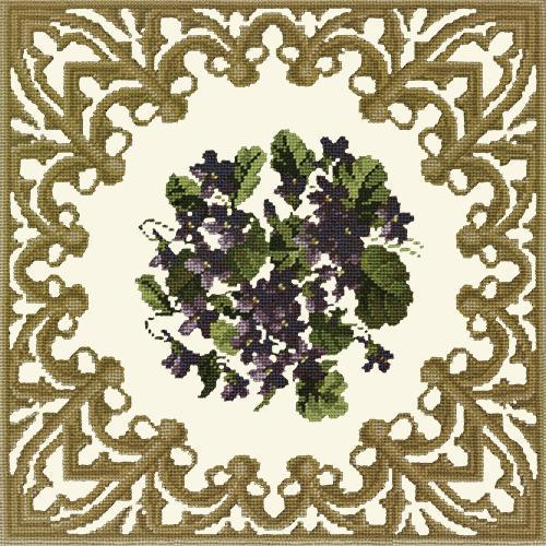 A Posy of Violets Needlepoint Kit Elizabeth Bradley Design Winter White