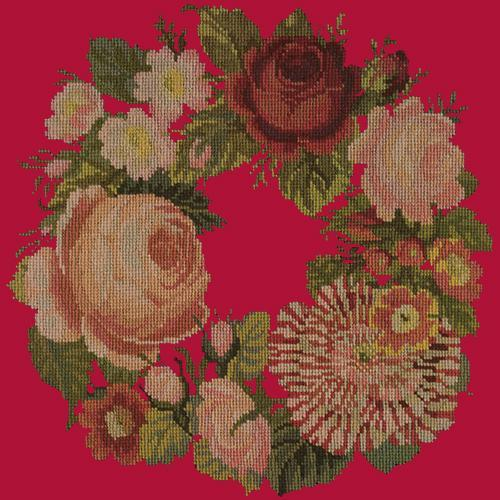 A Wreath of Roses Needlepoint Kit Elizabeth Bradley Design Bright Red