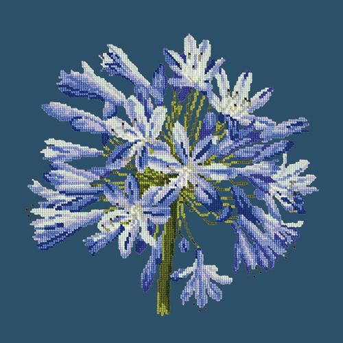 Agapanthus Needlepoint Kit Elizabeth Bradley Design Dark Blue