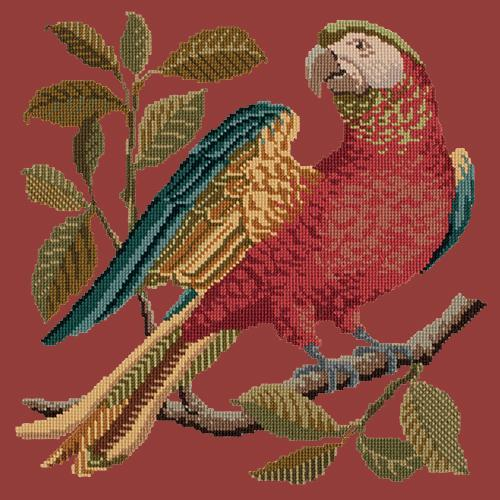 Alister the Parrot Needlepoint Kit Elizabeth Bradley Design Dark Red