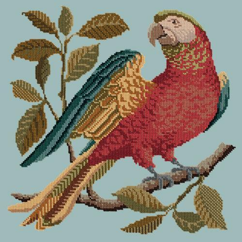 Alister the Parrot Needlepoint Kit Elizabeth Bradley Design Pale Blue