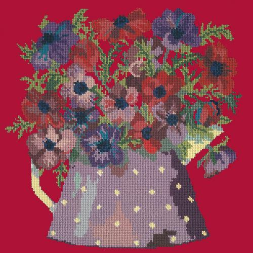 Anemone Pitcher Needlepoint Kit Elizabeth Bradley Design Bright Red