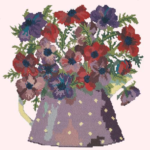 Anemone Pitcher Needlepoint Kit Elizabeth Bradley Design Cream