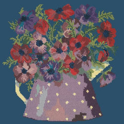 Anemone Pitcher Needlepoint Kit Elizabeth Bradley Design Dark Blue