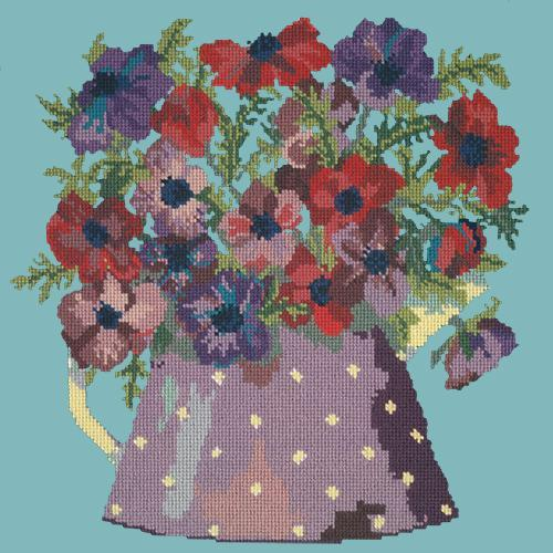 Anemone Pitcher Needlepoint Kit Elizabeth Bradley Design Duck Egg Blue