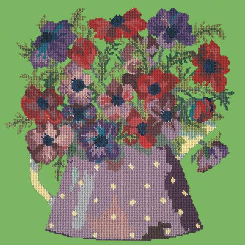 Anemone Pitcher Needlepoint Kit Elizabeth Bradley Design Grass Green