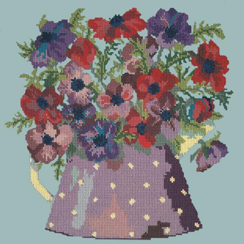 Anemone Pitcher Needlepoint Kit Elizabeth Bradley Design Pale Blue