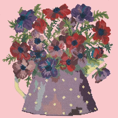 Anemone Pitcher Needlepoint Kit Elizabeth Bradley Design Pale Rose