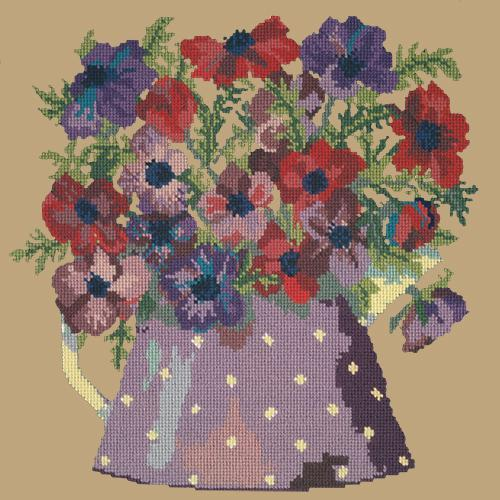 Anemone Pitcher Needlepoint Kit Elizabeth Bradley Design Sand