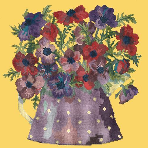 Anemone Pitcher Needlepoint Kit Elizabeth Bradley Design Sunflower Yellow
