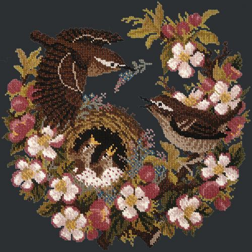 Apple Blossom Needlepoint Kit Elizabeth Bradley Design Black