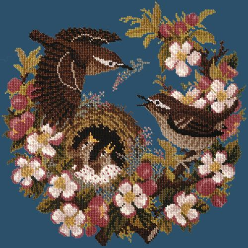 Apple Blossom Needlepoint Kit Elizabeth Bradley Design Dark Blue