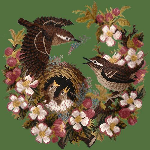 Apple Blossom Needlepoint Kit Elizabeth Bradley Design Dark Green