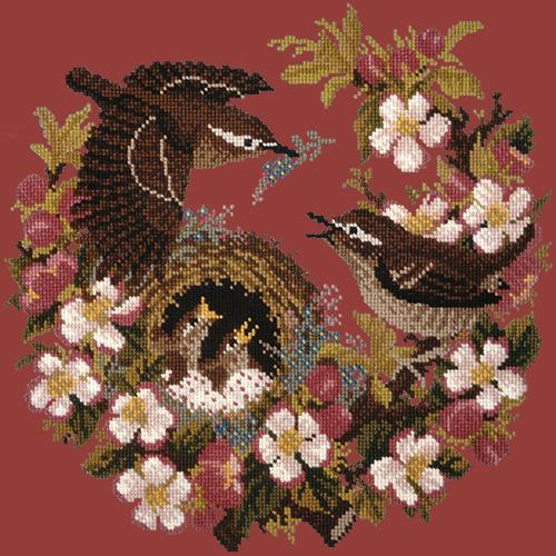 Apple Blossom Needlepoint Kit Elizabeth Bradley Design Dark Red