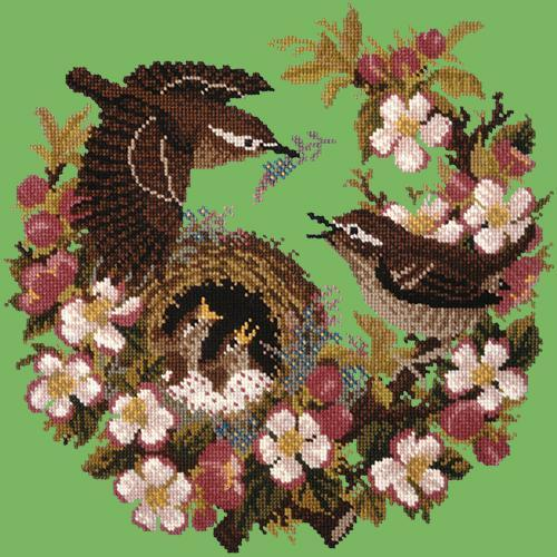 Apple Blossom Needlepoint Kit Elizabeth Bradley Design Grass Green