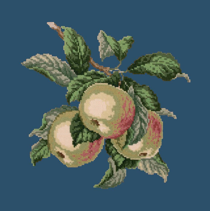 Apples Needlepoint Kit Elizabeth Bradley Design Dark Blue
