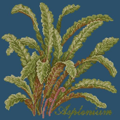 Asplenium Needlepoint Kit Elizabeth Bradley Design Dark Blue