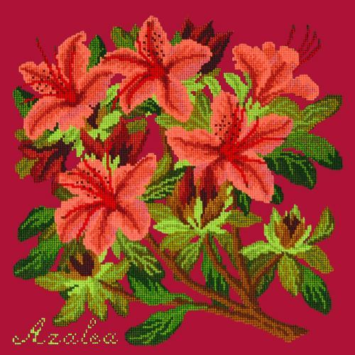 Azalea Needlepoint Kit Elizabeth Bradley Design Bright Red