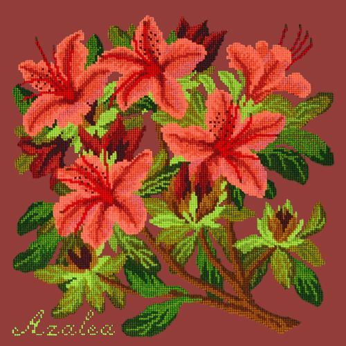 Azalea Needlepoint Kit Elizabeth Bradley Design Dark Red