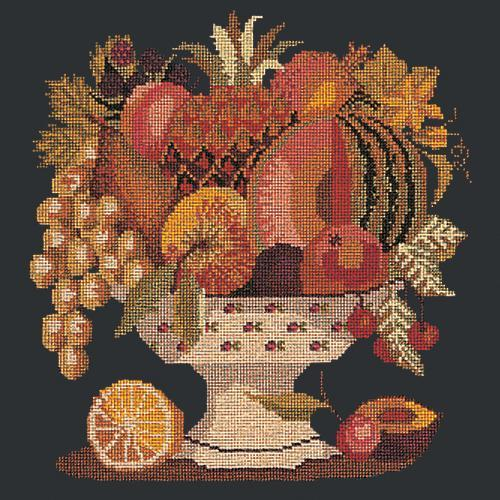 Bowl of Fruit Needlepoint Kit Elizabeth Bradley Design Black