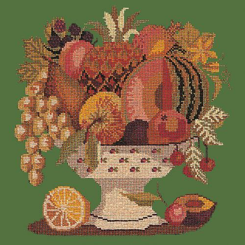 Bowl of Fruit Needlepoint Kit Elizabeth Bradley Design Dark Green